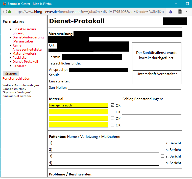 Vorlagen ausfüllbar machen - Vorlagen & Formulare - Forum HiOrg-Server